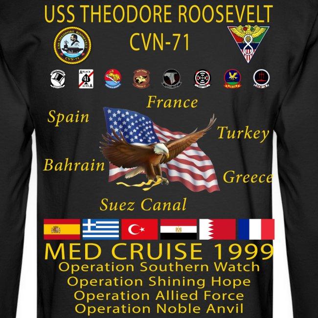 USS THEODORE ROOSEVELT CVN-71 COMBAT CRUISE 1999 CRUISE SHIRT