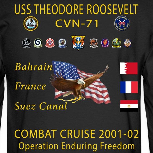 USS THEODORE ROOSEVELT CVN-71 COMBAT CRUISE 2001-02 CRUISE SHIRT - LONG SLEEVE