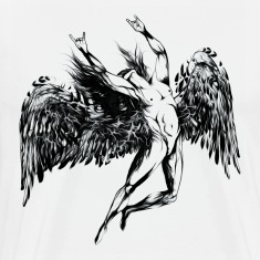ICARUS THROWS THE HORNS - black oil T-Shirts