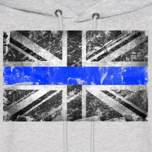 tattered distressed thin blue line flag vintage GB - Men's Hoodie