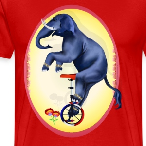Elephant-Unicycle Oval - Men's Premium T-Shirt