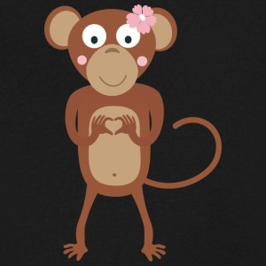 amorous female monkey with flower T-Shirts - Men's V-Neck T-Shirt by Canvas