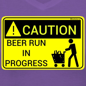 Caution Beer Run In Progress Women's V-Neck T-Shir - Women's V-Neck T-Shirt