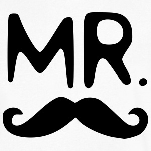 Mr. Mustache T-Shirts - Men's V-Neck T-Shirt by Canvas
