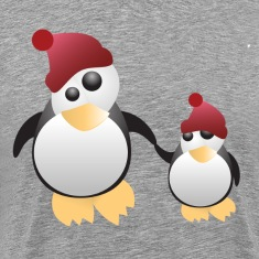 Penguin family on blue background T-Shirts
