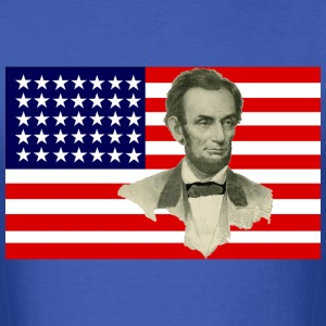 Abraham Lincoln with Civil War Union Flag - Men's T-Shirt