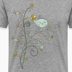 Leaves birds background art T-Shirts