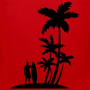 Surfer and palm trees Sportswear - Men's Premium Tank
