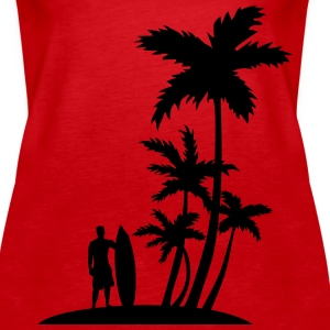 Surfer and palm trees Tanks - Women's Premium Tank Top