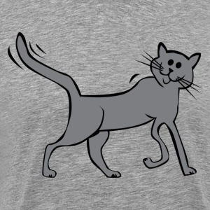 Gray cartoon cat walking T-Shirts - Men's Premium T-Shirt