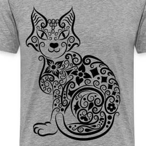 Cute hand drawn cat decoration pattern T-Shirts - Men's Premium T-Shirt