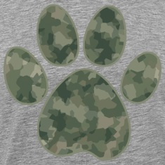 Green Camouflage Dog Paw T-Shirts
