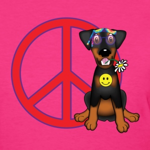 Hippy Doberman Flower Child T-Shirts - Women's T-Shirt