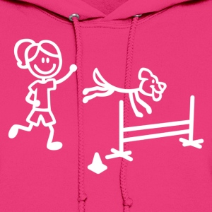 Agility Dog and Handler Stick Figures - Women's Hoodie