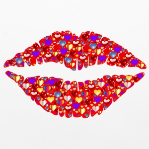 Hearts & Lip gloss on Lips Other - Pillowcase