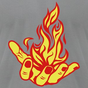 open fire flame hand T-Shirts - Men's T-Shirt by American Apparel