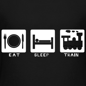 trains, train, lovers, eat, sleep - Kids' Premium T-Shirt