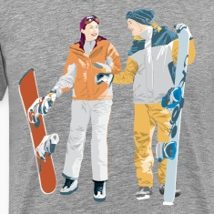 Snowboard boy amp girl illustration T-Shirts
