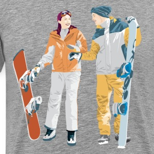 Snowboard boy amp girl illustration T-Shirts - Men's Premium T-Shirt
