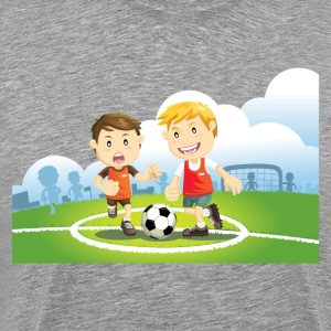 Two boys play soccer on a field T-Shirts - Men's Premium T-Shirt