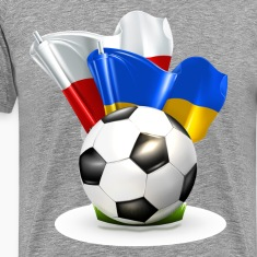 Soccer with Poland and Ukraine glossy flag T-Shirts