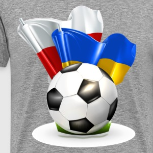 Soccer with Poland and Ukraine glossy flag T-Shirts - Men's Premium T-Shirt