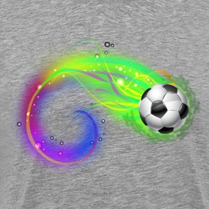 Soccer ball on colorful lightning way T-Shirts - Men's Premium T-Shirt