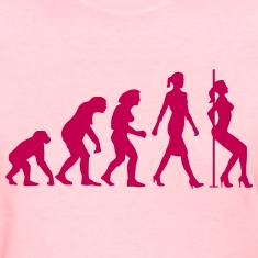 evolution_of_woman_striptease_052016_b_1 Women's T-Shirts