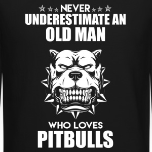 Old Man Who Loves Pitbull - Crewneck Sweatshirt