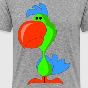 Green chick with red beak cartoon T-Shirts - Men's Premium T-Shirt