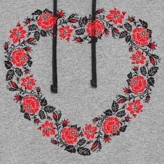 HEART ROSE PATTERN Hoodies