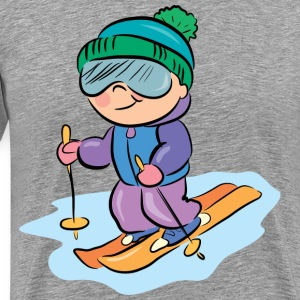 Cartoon kid skiing - Men's Premium T-Shirt