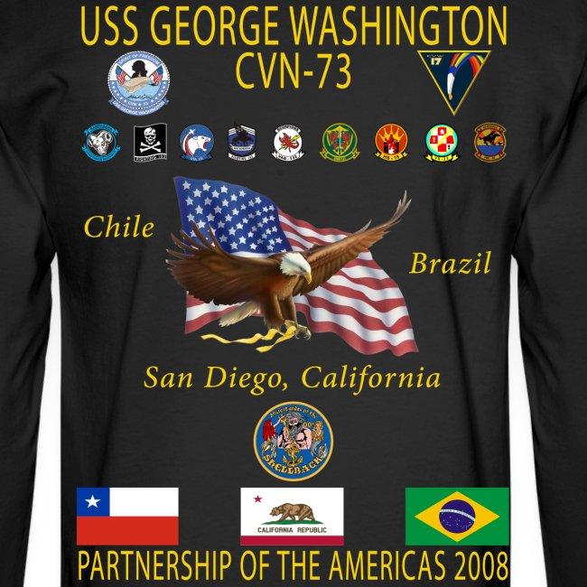 USS GEORGE WASHINGTON 2008 CRUISE SHIRT - PARTNERSHIP OF THE AMERICAS - LONG SLEEVE