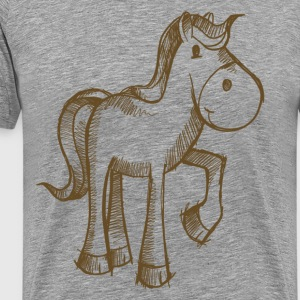 Horse lifted leg line art - Men's Premium T-Shirt