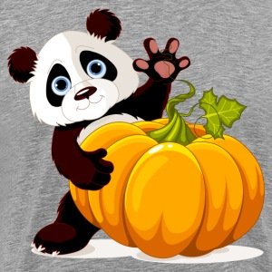 Cute little panda with pumpkin T-Shirts - Men's Premium T-Shirt