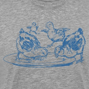 Chickens eating art - Men's Premium T-Shirt