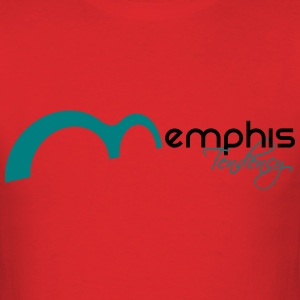 Mens T Red with Teal - Men's T-Shirt