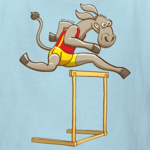 Donkey Running and Jumping in a Hurdling Race Kids' Shirts - Kids' T-Shirt