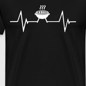 BBQ and Grilling Heartbeat Love T-Shirt T-Shirts - Men's Premium T-Shirt