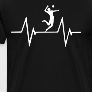 Beach Volleyball Player Heartbeat Love T-Shirt T-Shirts - Men's Premium T-Shirt