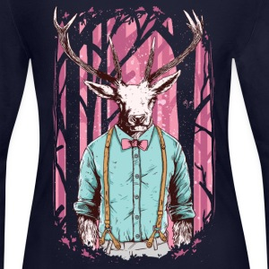 Fashion Deer with Bow Tie Long Sleeve Shirts - Women's Long Sleeve Jersey T-Shirt
