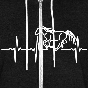 MY HEART BEATS FOR HORSES, Zip Hoodies & Jackets - Unisex Fleece Zip Hoodie by American Apparel