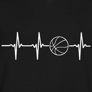 MY HEART BEATS FOR BASKETBALL, T-Shirts - Men's V-Neck T-Shirt by Canvas