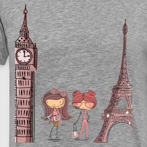 Girls at Eiffel tower T-Shirts - Men's Premium T-Shirt