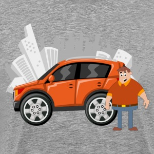 Fatty man with orange car T-Shirts - Men's Premium T-Shirt