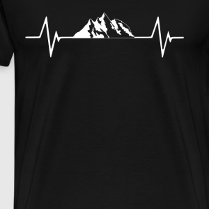 Mountains Skiing Snowboar  Heartbeat Love T-Shirt T-Shirts - Men's Premium T-Shirt