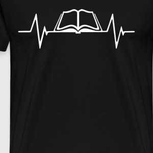 Reading Books  Heartbeat Love T-Shirt T-Shirts - Men's Premium T-Shirt