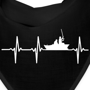 MY HEART BEATS FOR FISHING, fish, fishing, sailing, fishermen, love, heart, i love fish heartbeat, my heart beats, boat, Caps - Bandana