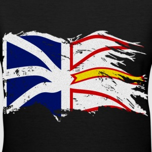 DISTRESSED WAVING NEWFOUNDLAND AND LABRADOR FLAG - Women's V-Neck T-Shirt