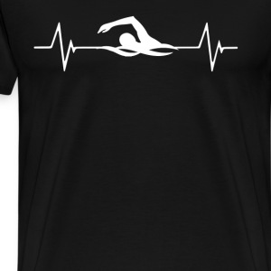 Swimming Heartbeat Love T-Shirt T-Shirts - Men's Premium T-Shirt